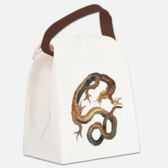 Japanese Dragon by Hokusai Canvas Lunch Bag