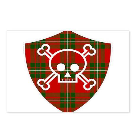Mac Gregor Tartan Skull And Bones Shield Postcards