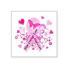 "Pink Ribbon with Love Square Sticker 3"" x 3"""