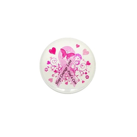 Pink Ribbon with Love Mini Button (100 pack)