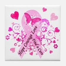 Pink Ribbon with Love Tile Coaster
