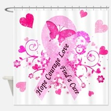 Pink Ribbon with Love Shower Curtain