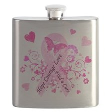Pink Ribbon with Love Flask