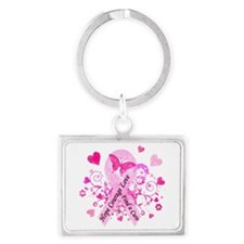 Pink Ribbon with Love Landscape Keychain