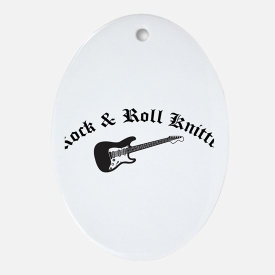 Rock and Roll Knitter Oval Ornament