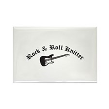 Rock and Roll Knitter Rectangle Magnet