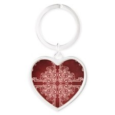 BURGUNDY Heart Keychain