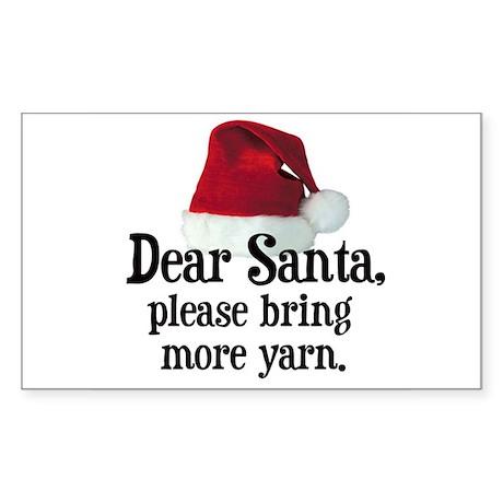 Santa Bring More Yarn Rectangle Sticker
