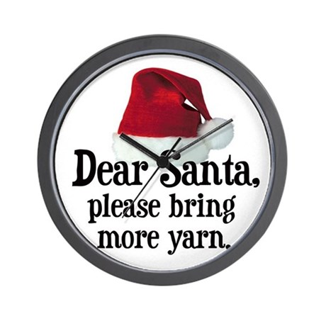 Santa Bring More Yarn Wall Clock