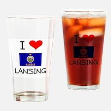 I Love LANSING Kansas Drinking Glass