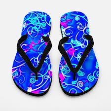 shiny blue pink Flip Flops