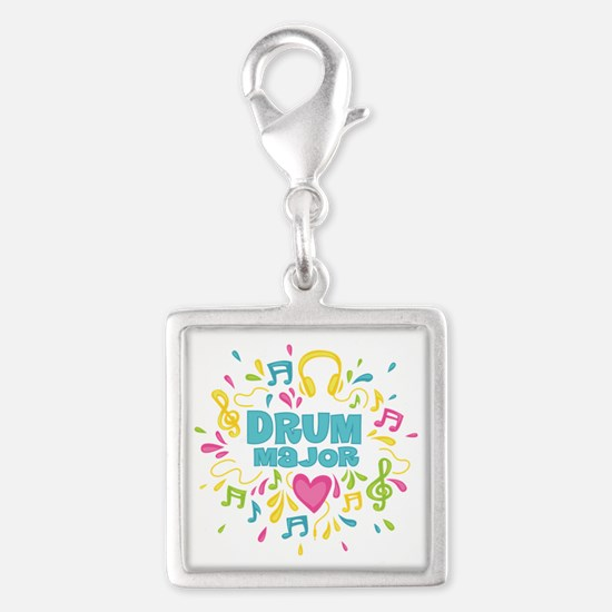 Drum Major Silver Square Charm