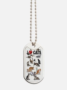 """Dog Tag """"I love Cats"""""""