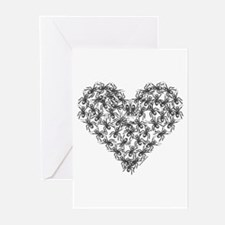Black Ants Heart Greeting Cards (Pk of 10)