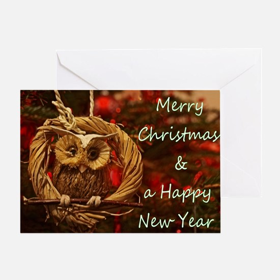 Christmas Owl Ornament Greeting Cards
