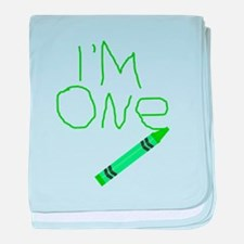 Im One Green Crayon Writing baby blanket