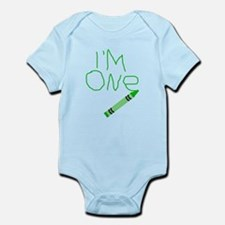 Im One Green Crayon Writing Body Suit