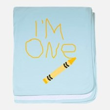 Im One Yellow Crayon Writing baby blanket