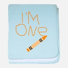 Im One Orange Crayon Writing baby blanket