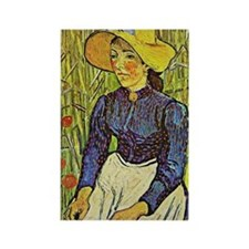 Van Gogh: Young Peasant Girl in a Rectangle Magnet