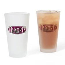 Up North Nortwoods Snowmobiler Drinking Glass