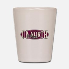 Up North Nortwoods Snowmobiler Shot Glass