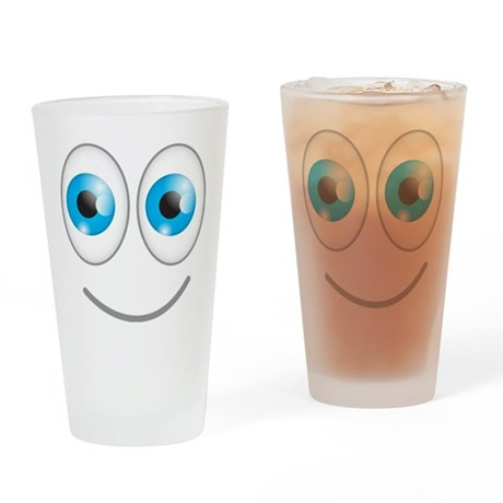 Cute smiley happy face blue eyes Drinking Glass