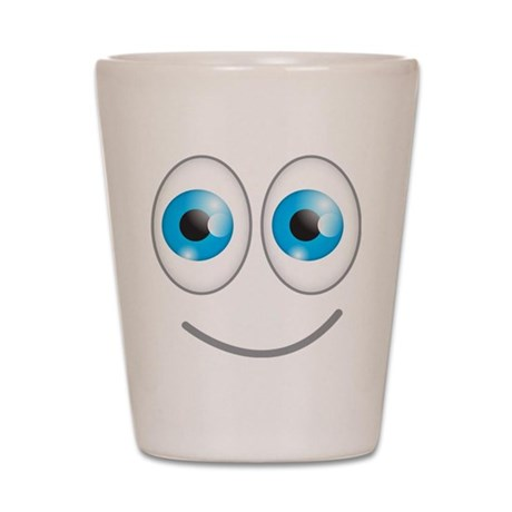 Cute smiley happy face blue eyes Shot Glass