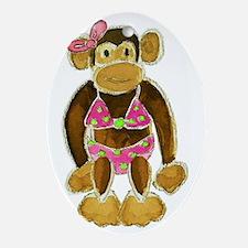 Polka Dot Bikini Monkey Oval Ornament