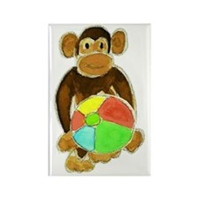 Beachball Monkey Loves the Beach Rectangle Magnet