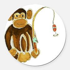 Monkey Gone Fishing Round Car Magnet