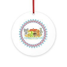 Noah's Ark Critters Zig Zag Round Ornament
