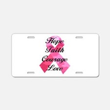 Pink Camouflage Ribbon Aluminum License Plate