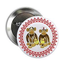 "Monkey Doctor & Nurse Zig Zag 2.25"" Button"