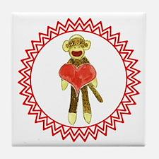 Sock Monkey Heart Zig Zag Tile Coaster