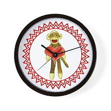 Sock Monkey Heart Zig Zag Wall Clock