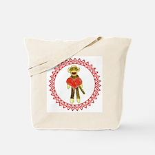 Sock Monkey Heart Zig Zag Tote Bag