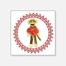 "Sock Monkey Heart Zig Zag Square Sticker 3"" x 3"""