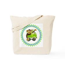 Choo Choo Monkey Zig Zag Tote Bag