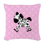 Cute Pink Zebra with Pink Dots Woven Throw Pillow