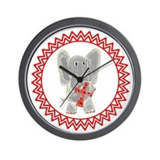 Elephant Red Cross Zig Zag Wall Clock