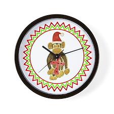 Santa Monkey Red Cross Zig Zag Wall Clock