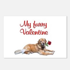 Golden retriever Valentine Postcards (Package of 8