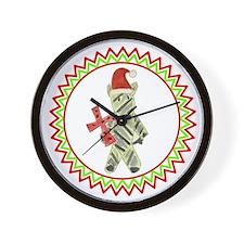 Santa Zebra Red Cross Zig Zag Wall Clock