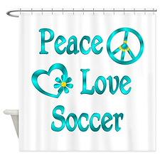 Peace Love Soccer Shower Curtain