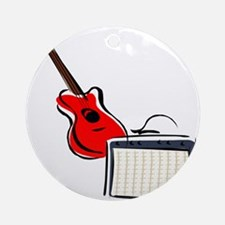 stylized guitar amp red. Ornament (Round)