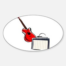 stylized guitar amp red. Decal