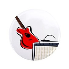 "stylized guitar amp red. 3.5"" Button"