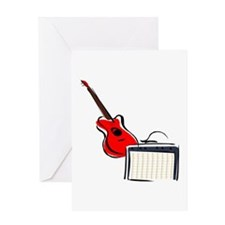 stylized guitar amp red. Greeting Cards