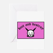 Knit and Destroy Skull Greeting Cards (Package of